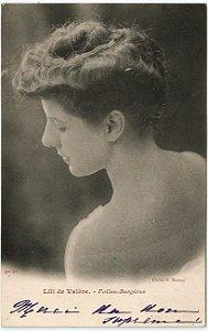 Cartão Postal Antigo Original, Fotografia da Atriz de Teatro Francesa Lili de Valère