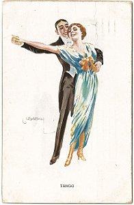 Cartão Postal Antigo Original Ilustrado - Tema Dança, Tango, Moda, Circulado em 1910