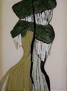 Hannah Brandt - Gravura - Xilogravura Original Abstrata, Assinada e Datada 1977