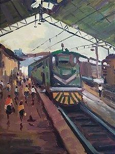 R. Kurt - Pintura Óleo sobre Tela - Interior de Estação de Trem