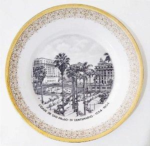 IV Centenário de São Paulo - Prato em Porcelana, Imagem do Viaduto do Chá, 23 cm