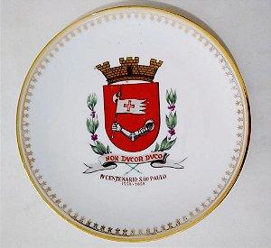 IV Centenário de São Paulo - Prato em Porcelana com Brasão de São Paulo, 19 cm