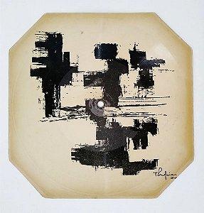 Antonio Bandeira - Arte Abstrata em Disco de Vinil sobre Cartão, 1961, Assinado