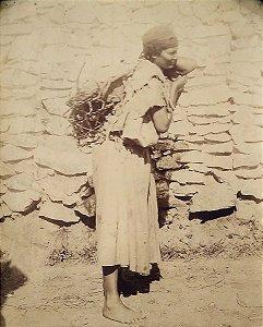 Foto Antiga Original Séc. XIX - Argelia, Mulher Cabila, Kabyle, Papel com Albúmen
