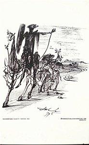 Dalí , Salvador- Azulejo C/ Imagem de D. Quixote Assinado na Matriz, obra de 1945 Reproduzida em 1996 pela Fundação Dalí