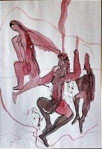 Gregory Fink - Quadro, Pintura em Técnica Mista - Aquarela e Nanquim - Assinado, 1986