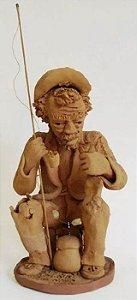 Ivan Brasil - Escultura em Barro - Figura de Pescador - Assinada,  1982