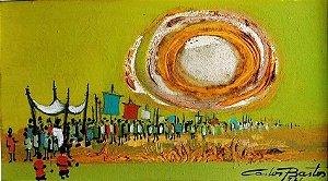 Carlos Bastos - Quadro, Pintura Óleo sobre Tela - Procissão - Assinada, 1971
