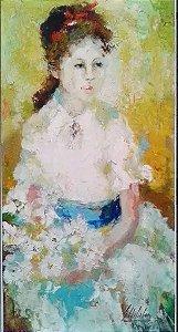 Gilda Lisboa - Quadro,  Pintura Óleo Sobre Eucatex.  Menina Moça, Assinado