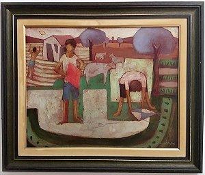 Waldomiro Sant´ana - Quadro, Pintura Técnica Mista S/ Eucatex, Assinado