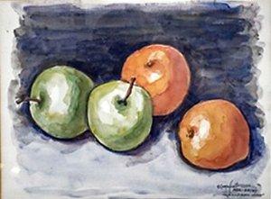 Quirino Campofiorito - Quadro, Pintura Aquarela, Assinado, Paris 1984