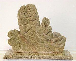 Escultura Executada Em Pedra - Assinada J. J.