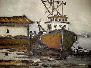 Alcy Vianna - Quadro, Pintura Óleo sobre Eucatex Assinada, Porto