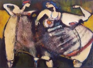 Beth Turkieniez - Quadro, Pintura Assinada, Óleo sobre Tela - Costurando Rede
