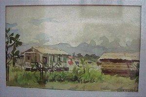 E. Frioli - Quadro Aquarela Sobre papel, Assinado,  Cena Rural