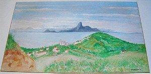 Georges Wambach - Quadro Aquarela Sobre Papel Assinada, Imagem do Rio De Janeiro, Emoldurada