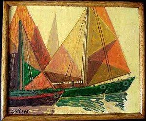 Gutbrod - Quadro, Pintura Óleo sobre Eucatex - Barcos Do Nordeste VII