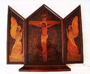 Religioso - Antigo Triptico, Oratório em Marchetaria em Raiz de Roseira