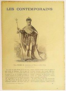 Dom Pedro II -  Antigo Jornal Francês 'Les Contemporains'