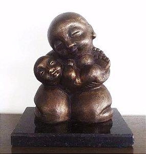 Agenov - Escultura em Bronze Representando Maternidade, Assinada