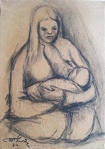 Maternidade - Pintura Desenho A Carvão Assinado - 1972