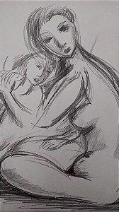 Maternidade - Desenho Original A Lápis, sem moldura