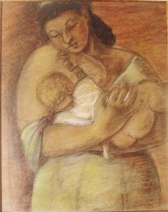 Yolanda Mohalyi - Representação de  Maternidade,  Pintura Pastel sobre Cartão C/ Certificado, Emoldurado