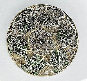 Broche em  Ouro e Prata - Vermeil Esmaltado, com Marcassitas - Antigo e Magnífico Trabalho de Joalheria Filigranada