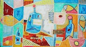 Nibbes Asfaduroff - Quadro, Pintura Óleo Sobre Tela Composição Geométrica