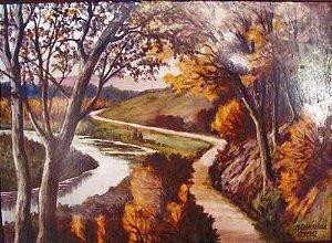 M. Chaufriasse - Quadro, Pintura Sobre Porcelana Limoges, Paisagem