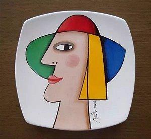 Gustavo Rosa - Prato em Cerâmica, Figura de Mulher,  Assinado