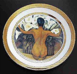 Diego Rivera - Porcelana Rosenthal com Obra do Artista -  Prato Borda com Ouro 24k, 26cm