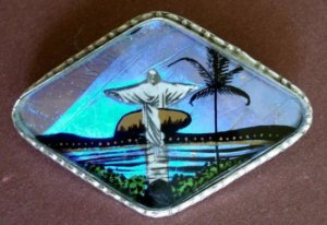 Antigo Broche Imagem do Rio De Janeiro com  Asa De Borboleta