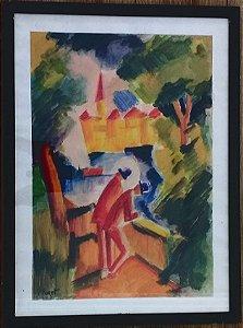 P. Foret - Quadro, Desenho Expressionista Aquarelado, Assinado