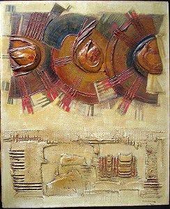 Emilio Jaime - Quadro Pintura Técnica Mista Relevo Abstrato
