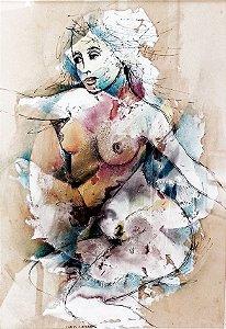 Carlos E. Lacerda - Pintura Original Têmpera E Nanquim Nu Feminino, Emoldurado