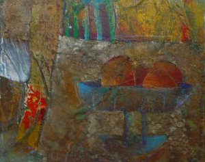 Damasceno - Quadro, Pintura Técnica Mista sobre Eucatex, Natureza Morta
