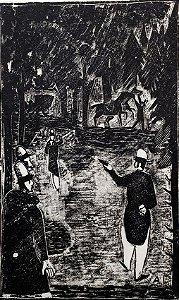 Axl Leskostchek - O Duelo, Gravura  Xilogravura Original, Criação para Obra de Dostoiévski