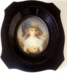 Alex - Antiga Pintura Miniatura S/ Celuloide Figura de Dama, Assinada, Vidro Bombê