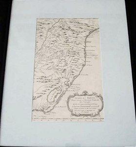 Mapa Antigo do Sul do Brasil, Suite Du Bresil, Original de 1780 - Emoldurado