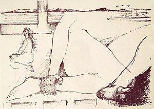 Ferenc Kiss - Gravura Assinada, Corpo Feminino, 1974 , com Moldura