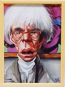Rossi - Quadro, Pintura Técnica Mista, Caricatura de Andy Warhol, Assinada, Emoldurada