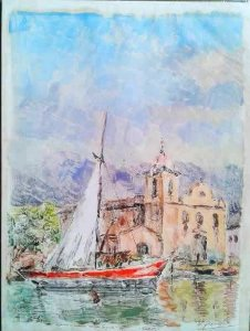 Nicola Petti -  Pintura Aquarela sobre Papel, Parati, Assinada