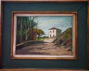 Nicola Petti - Quadro, Pintura Óleo sobre Eucatex, Mosteiro, Assinado