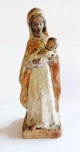 Arte Sacra, Santa - Virgem com Menino Jesus,  Escultura Antiga em Barro Cozido