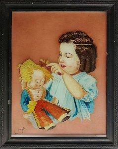 Virginia, Pintura Antiga Sobre Vidro, Menina Penteando Boneca, 1942