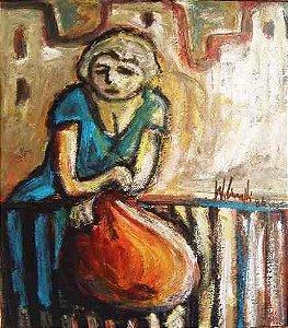 Wanderley Ciuffi - Pintura  Figura de Mulher, Óleo sobre Eucatex,1986