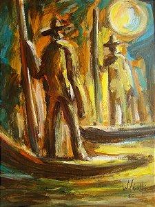 Wanderley Ciuffi - Quadro Homem na Canoa, Técnica Mista sobre Cartão - 1985
