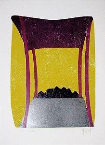 Hannah Brandt - Gravura, Xilogravura Abstrata Assinada, 1991