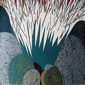 Hannah Brandt - Gravura, Xilogravura Abstrata,  1983